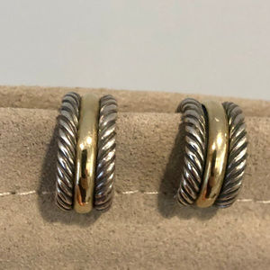 David Yurman - Cable Hoop Earrings w/ 14K Gold